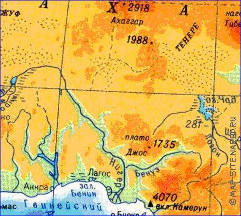 Карта африки физическая