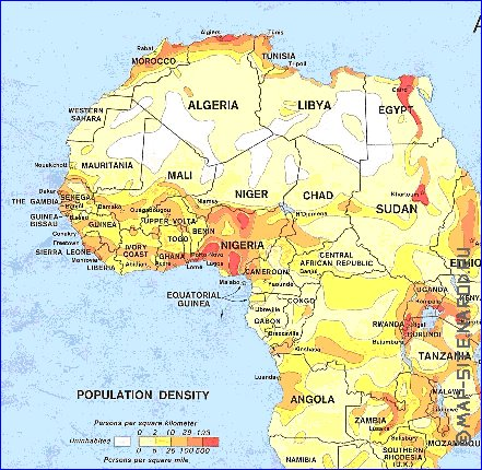 interactive carte de de la densite de population afrique