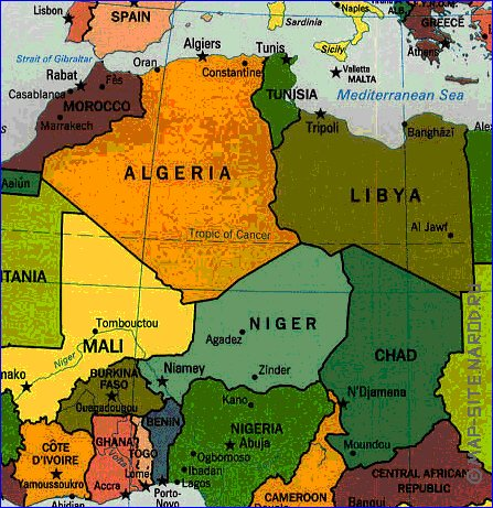 Interativo politico mapa de Africa em ingles